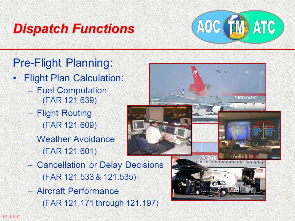 01/14/01 Dispatch Functions Pre-Flight Planning: Flight Plan Calculation: –Fuel Computation (FAR 121.639) –Flight Routing (FAR 121.609) –Weather Avoidance (FAR 121.601) –Cancellation or Delay Decisions (FAR 121.533 & 121.535) –Aircraft Performance (FAR 121.171 through 121.197)