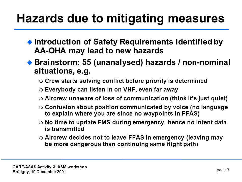 page 3 CARE/ASAS Activity 3: ASM workshop Brétigny, 19 December 2001 Hazards due to mitigating measures Introduction of Safety Requirements identified by AA-OHA may lead to new hazards Brainstorm: 55 (unanalysed) hazards / non-nominal situations, e.g.