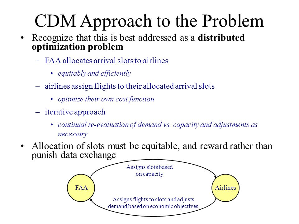CDM Approach to the Problem Recognize that this is best addressed as a distributed optimization problem –FAA allocates arrival slots to airlines equitably and efficiently –airlines assign flights to their allocated arrival slots optimize their own cost function –iterative approach continual re-evaluation of demand vs.