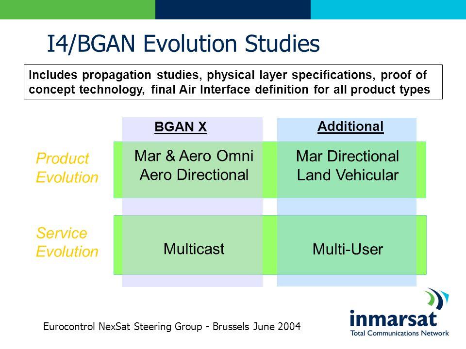 I4/BGAN Evolution Studies BGAN X Mar & Aero Omni Aero Directional Multicast Product Evolution Service Evolution Mar Directional Land Vehicular Multi-U