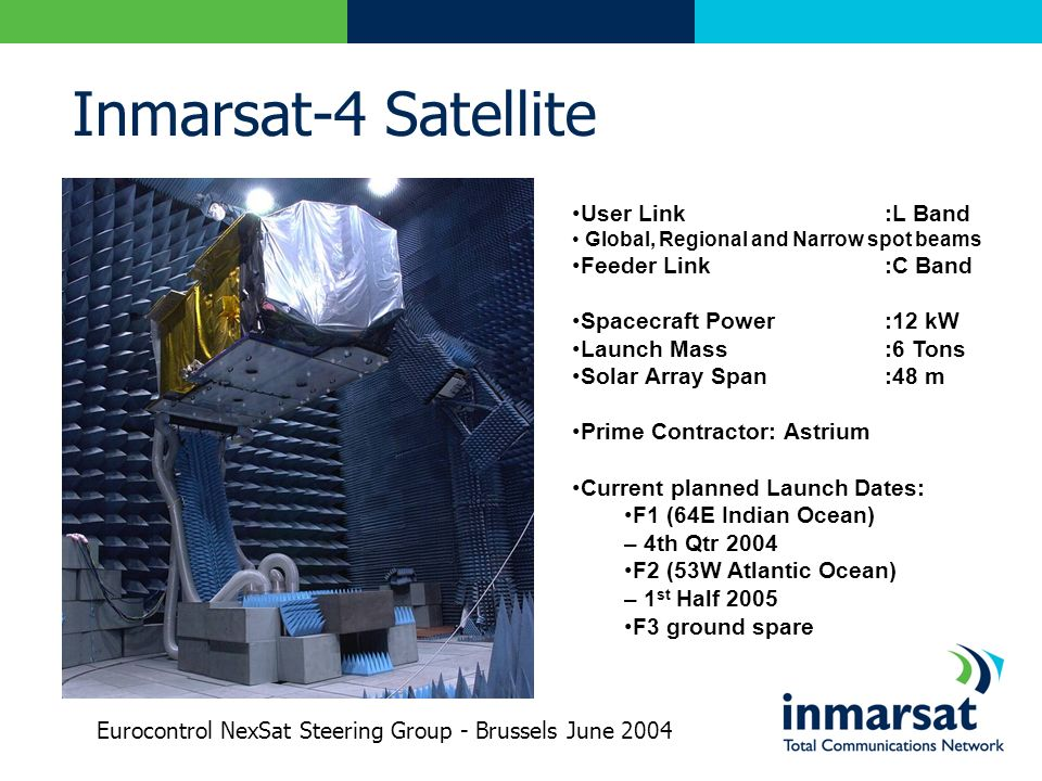 Inmarsat-4 Satellite User Link:L Band Global, Regional and Narrow spot beams Feeder Link:C Band Spacecraft Power:12 kW Launch Mass:6 Tons Solar Array