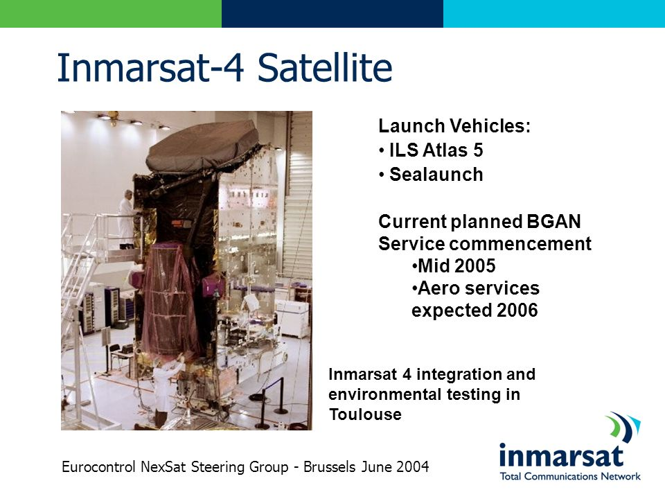 Inmarsat-4 Satellite Launch Vehicles: ILS Atlas 5 Sealaunch Current planned BGAN Service commencement Mid 2005 Aero services expected 2006 Inmarsat 4