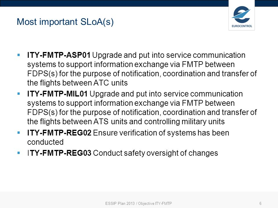 ESSIP Plan 2013 / Objective ITY-FMTP6 Most important SLoA(s) ITY-FMTP-ASP01 Upgrade and put into service communication systems to support information