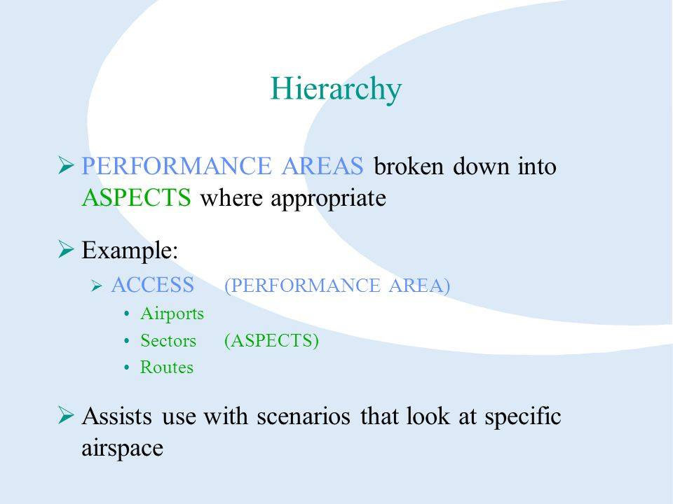 Hierarchy PERFORMANCE AREAS broken down into ASPECTS where appropriate Example: ACCESS (PERFORMANCE AREA) Airports Sectors(ASPECTS) Routes Assists use with scenarios that look at specific airspace