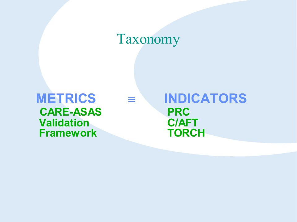 Taxonomy METRICS INDICATORS CARE-ASAS PRC Validation C/AFT Framework TORCH