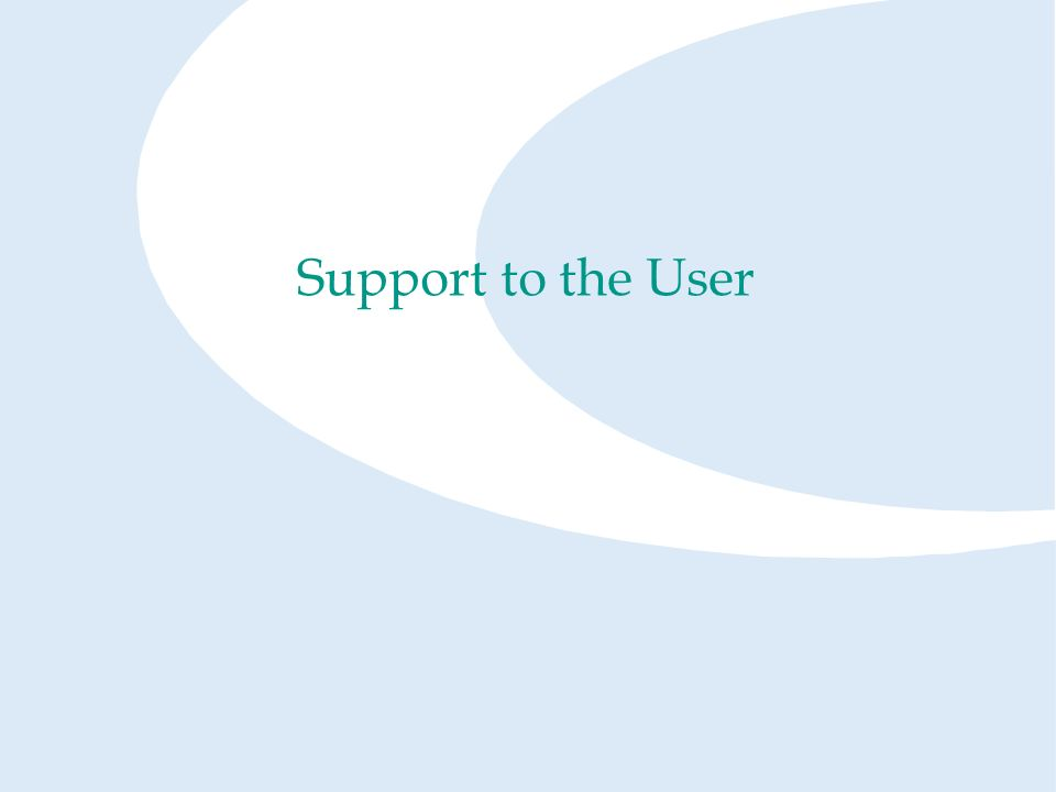 Support to the User