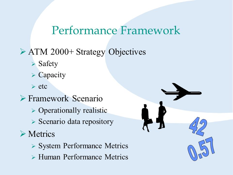 Performance Framework ATM 2000+ Strategy Objectives Safety Capacity etc Framework Scenario Operationally realistic Scenario data repository Metrics System Performance Metrics Human Performance Metrics