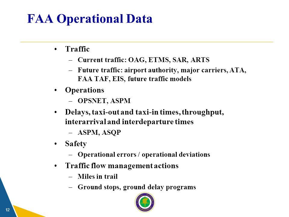 12 FAA Operational Data Traffic –Current traffic: OAG, ETMS, SAR, ARTS –Future traffic: airport authority, major carriers, ATA, FAA TAF, EIS, future t
