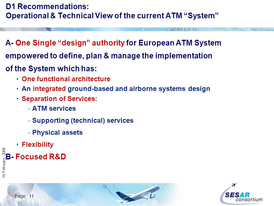 Page : 11 19 February, 2006 D1 Recommendations: Operational & Technical View of the current ATM System A- One Single design authority for European ATM