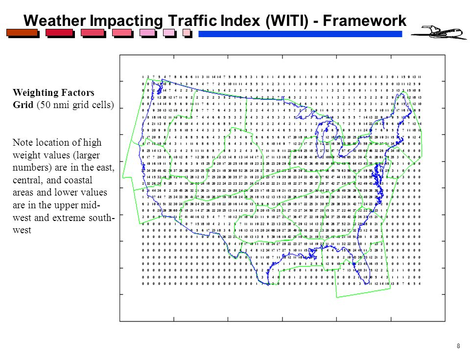 8 Weather Impacting Traffic Index (WITI) - Framework Weighting Factors Grid (50 nmi grid cells) Note location of high weight values (larger numbers) a