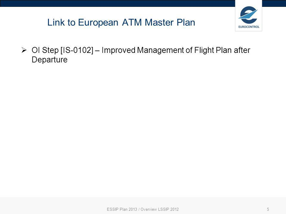 Link to European ATM Master Plan ESSIP Plan 2013 / Overview LSSIP 20125 OI Step [IS-0102] – Improved Management of Flight Plan after Departure