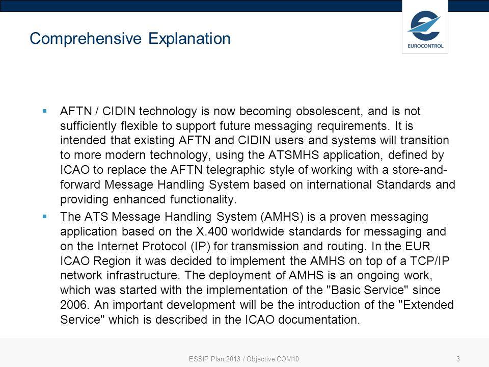 ESSIP Plan 2013 / Objective COM104 Link to European ATM Master Plan Enabler - [CTE-C10]-AMHS