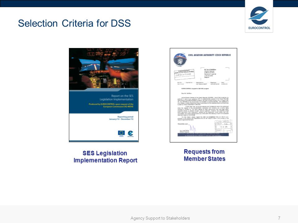 Agency Support to Stakeholders7 Selection Criteria for DSS SES Legislation Implementation Report Requests from Member States
