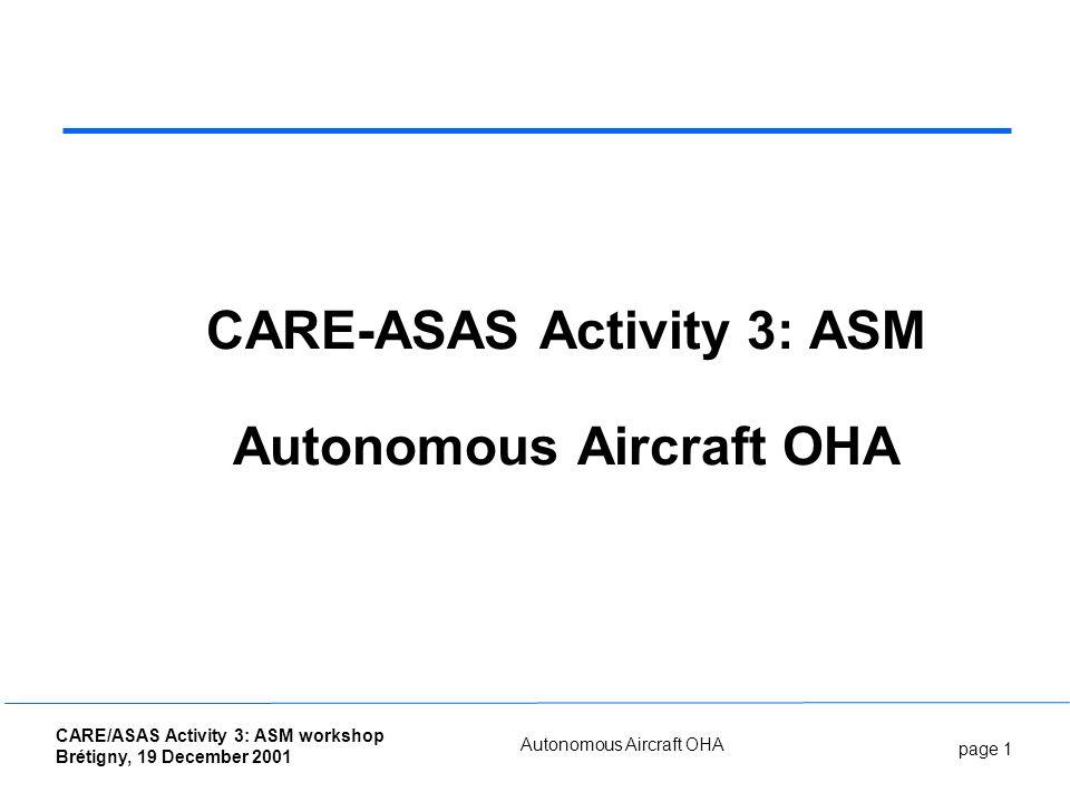 page 1 CARE/ASAS Activity 3: ASM workshop Brétigny, 19 December 2001 Autonomous Aircraft OHA CARE-ASAS Activity 3: ASM Autonomous Aircraft OHA