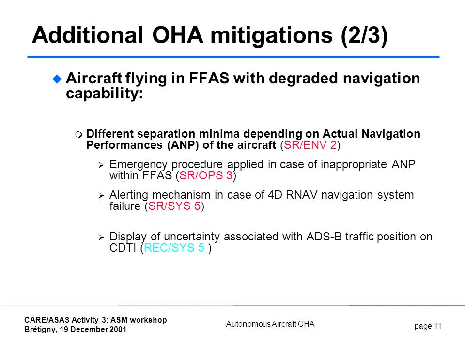 page 11 CARE/ASAS Activity 3: ASM workshop Brétigny, 19 December 2001 Autonomous Aircraft OHA Additional OHA mitigations (2/3) Aircraft flying in FFAS