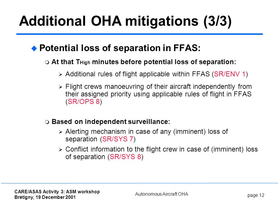 page 12 CARE/ASAS Activity 3: ASM workshop Brétigny, 19 December 2001 Autonomous Aircraft OHA Potential loss of separation in FFAS: At that T High min
