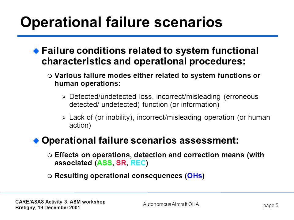 page 5 CARE/ASAS Activity 3: ASM workshop Brétigny, 19 December 2001 Autonomous Aircraft OHA Operational failure scenarios Failure conditions related to system functional characteristics and operational procedures: Various failure modes either related to system functions or human operations: Detected/undetected loss, incorrect/misleading (erroneous detected/ undetected) function (or information) Lack of (or inability), incorrect/misleading operation (or human action) Operational failure scenarios assessment: Effects on operations, detection and correction means (with associated (ASS, SR, REC) Resulting operational consequences (OHs)