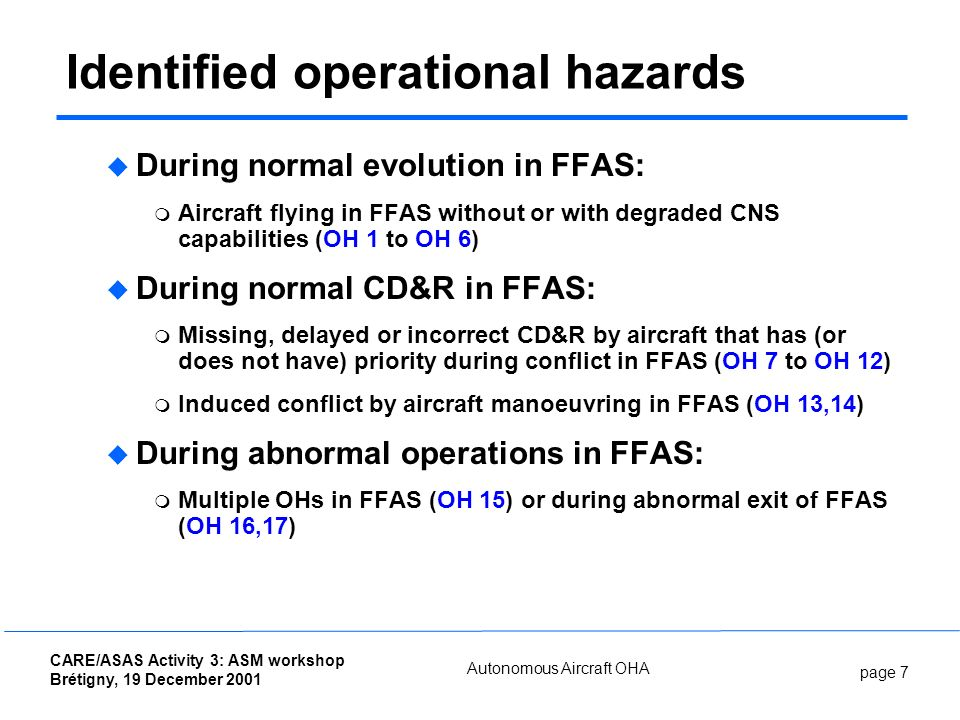page 7 CARE/ASAS Activity 3: ASM workshop Brétigny, 19 December 2001 Autonomous Aircraft OHA Identified operational hazards During normal evolution in