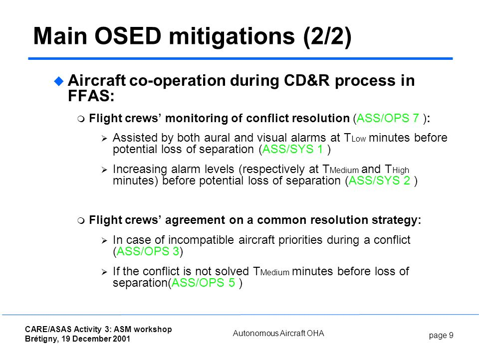 page 9 CARE/ASAS Activity 3: ASM workshop Brétigny, 19 December 2001 Autonomous Aircraft OHA Main OSED mitigations (2/2) Aircraft co-operation during