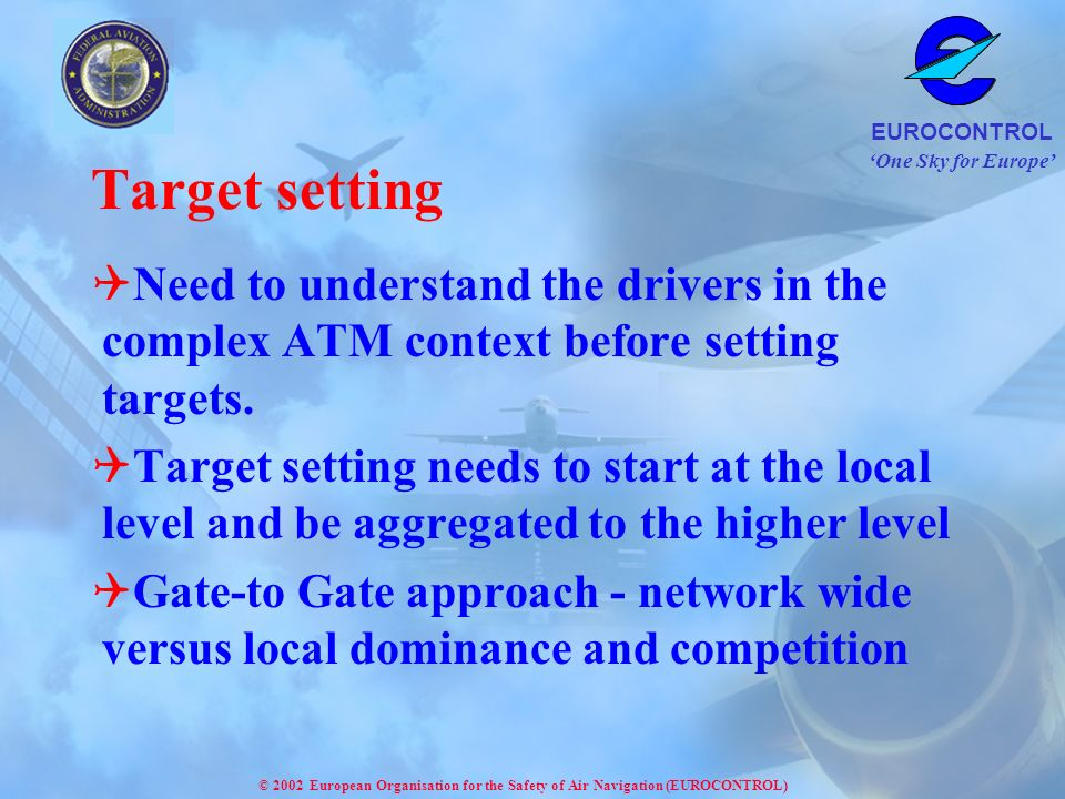 One Sky for Europe EUROCONTROL © 2002 European Organisation for the Safety of Air Navigation (EUROCONTROL) Target setting Need to understand the drivers in the complex ATM context before setting targets.