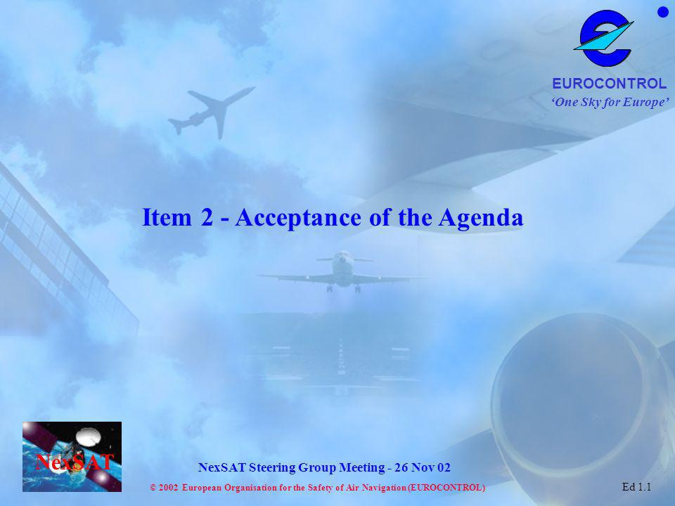 One Sky for Europe EUROCONTROL © 2002 European Organisation for the Safety of Air Navigation (EUROCONTROL) NexSAT NexSAT Steering Group Meeting - 26 Nov 02 Ed 1.1 What choices are there .