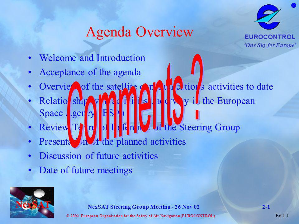 One Sky for Europe EUROCONTROL © 2002 European Organisation for the Safety of Air Navigation (EUROCONTROL) NexSAT NexSAT Steering Group Meeting - 26 Nov 02 Ed 1.1 Item 3 - Overview of Satellite Communication Activities to date