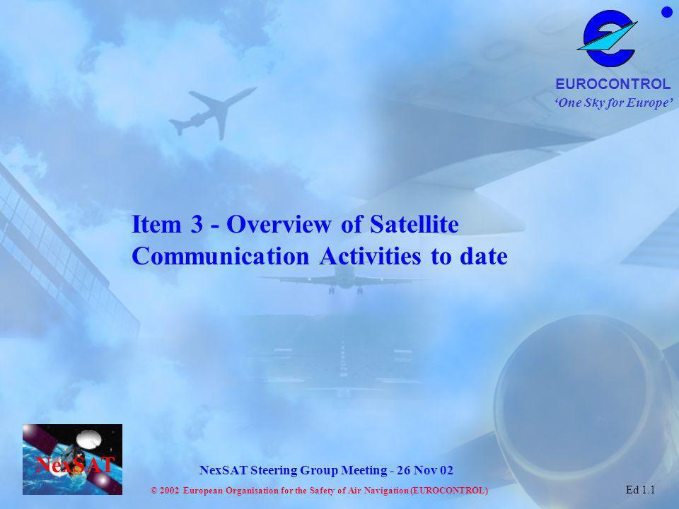 One Sky for Europe EUROCONTROL © 2002 European Organisation for the Safety of Air Navigation (EUROCONTROL) NexSAT NexSAT Steering Group Meeting - 26 Nov 02 Ed 1.1 Ground networking 2 3-21