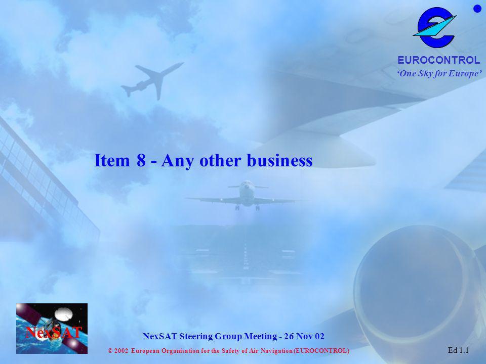 One Sky for Europe EUROCONTROL © 2002 European Organisation for the Safety of Air Navigation (EUROCONTROL) NexSAT NexSAT Steering Group Meeting - 26 N