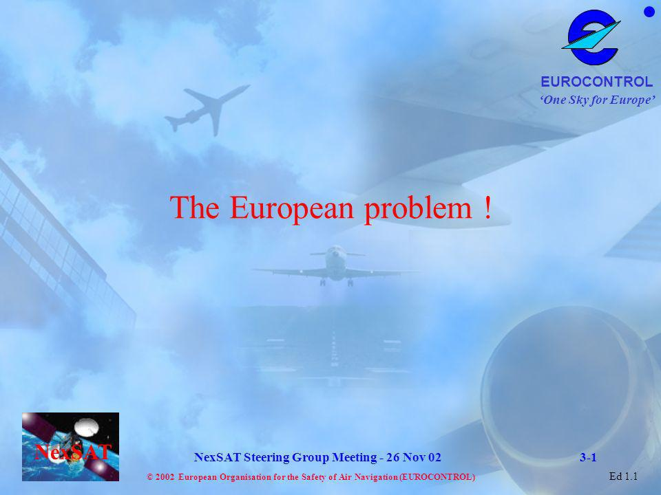 One Sky for Europe EUROCONTROL © 2002 European Organisation for the Safety of Air Navigation (EUROCONTROL) NexSAT NexSAT Steering Group Meeting - 26 Nov 02 Ed 1.1 2015 2002 VHF situation in Core Europe Capacity Vs Traffic needs The Aeronautical Mobile Communication infrastructure needs, in congested airspace, to accommodate Traffic growth 8.33 over FL 245 in ECAC We will be somewhere here with 8.33 below FL 245 Capacity demand Ideal case: ALL airspace in 8.33 In any case a gap will exist What is the foreseen situation for communication resources in Europe Additional communication capacity needs to be made available outside the VHF band 3-2