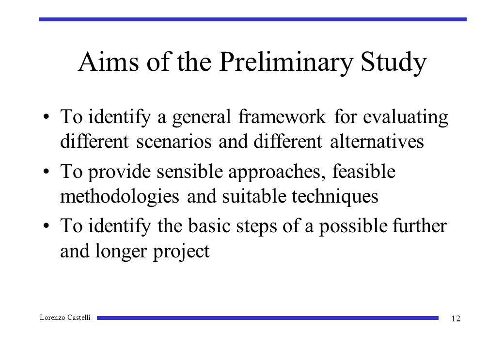 Lorenzo Castelli 12 Aims of the Preliminary Study To identify a general framework for evaluating different scenarios and different alternatives To provide sensible approaches, feasible methodologies and suitable techniques To identify the basic steps of a possible further and longer project