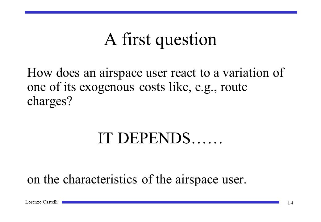 Lorenzo Castelli 14 A first question How does an airspace user react to a variation of one of its exogenous costs like, e.g., route charges.