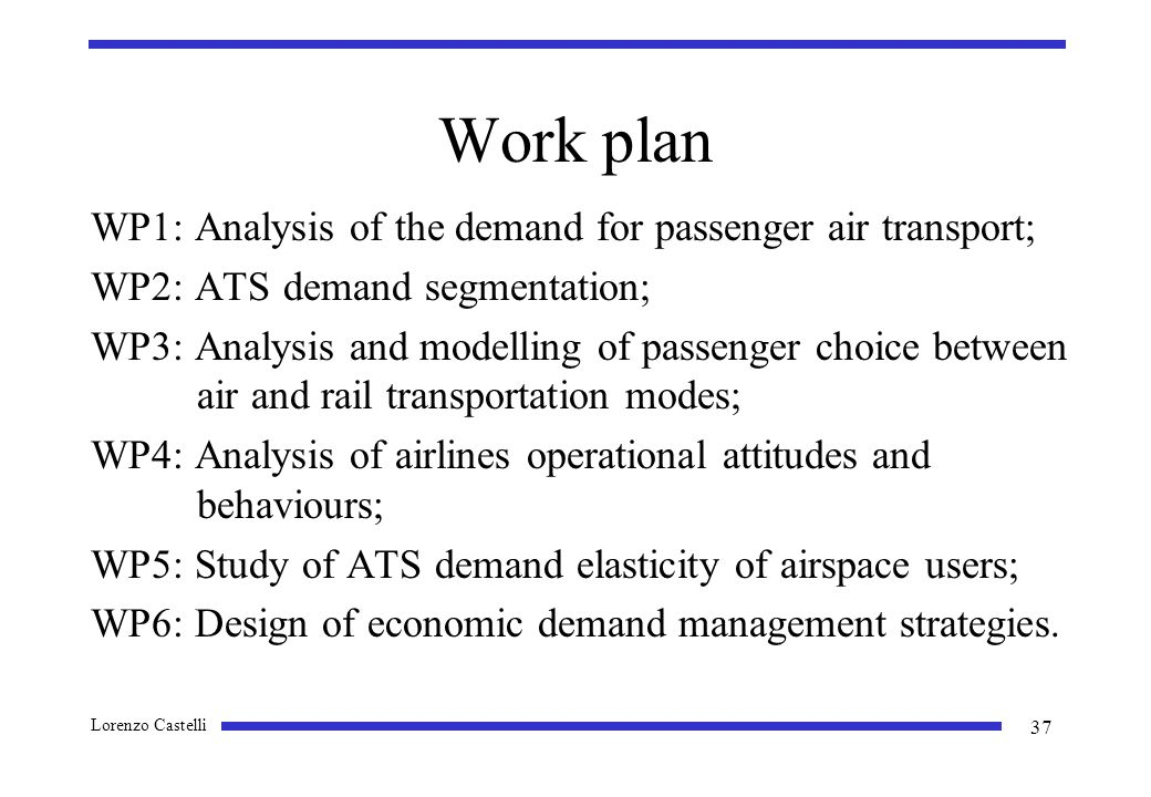 Lorenzo Castelli 37 Work plan WP1: Analysis of the demand for passenger air transport; WP2: ATS demand segmentation; WP3: Analysis and modelling of passenger choice between air and rail transportation modes; WP4: Analysis of airlines operational attitudes and behaviours; WP5: Study of ATS demand elasticity of airspace users; WP6: Design of economic demand management strategies.