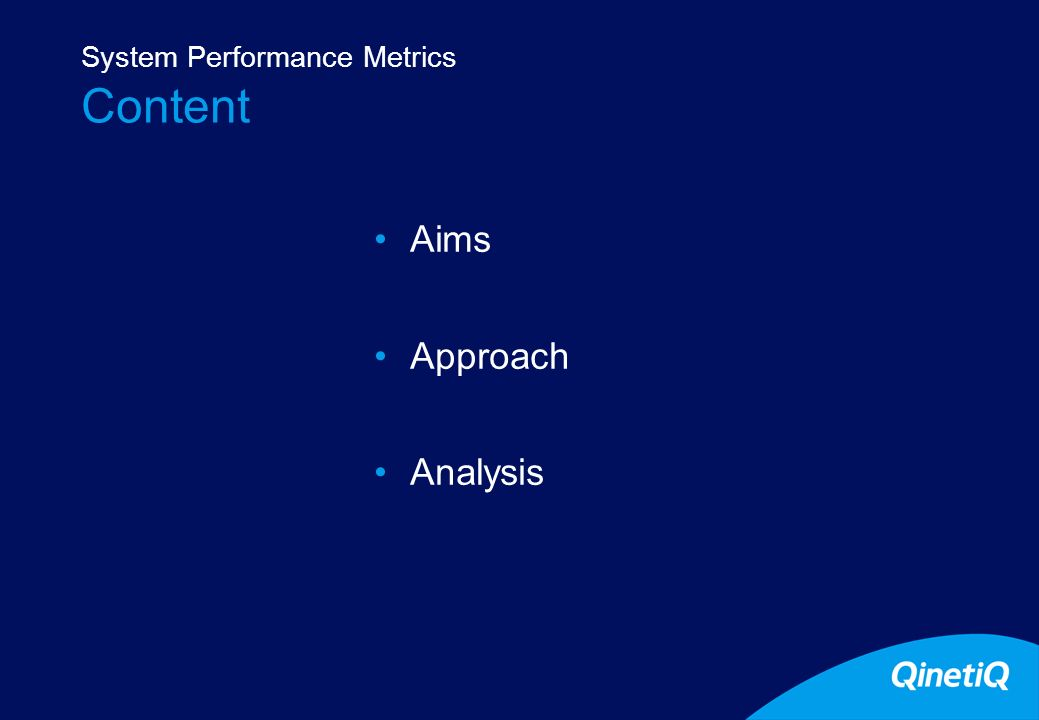 2 Content Aims Approach Analysis System Performance Metrics