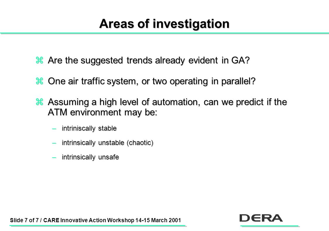 Slide 7 of 7 / CARE Innovative Action Workshop 14-15 March 2001 Areas of investigation zAre the suggested trends already evident in GA.