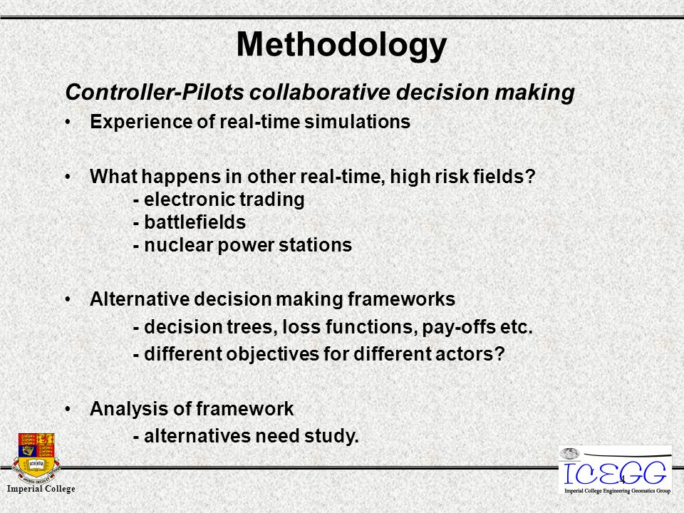 Imperial College 4 Methodology Controller-Pilots collaborative decision making Experience of real-time simulations What happens in other real-time, high risk fields.