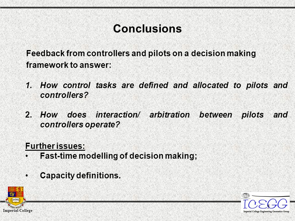 Imperial College 5 1.How control tasks are defined and allocated to pilots and controllers.