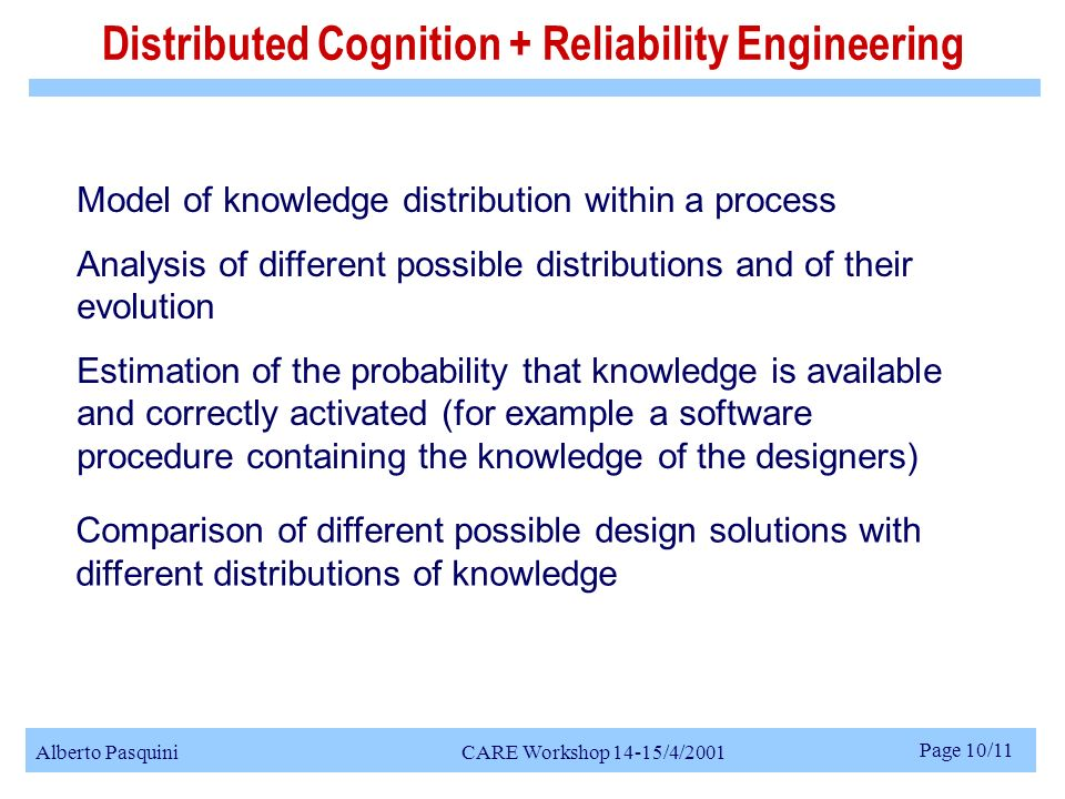 Alberto Pasquini CARE Workshop 14-15/4/2001 Page 10/11 Model of knowledge distribution within a process Analysis of different possible distributions and of their evolution Estimation of the probability that knowledge is available and correctly activated (for example a software procedure containing the knowledge of the designers) Distributed Cognition + Reliability Engineering Comparison of different possible design solutions with different distributions of knowledge