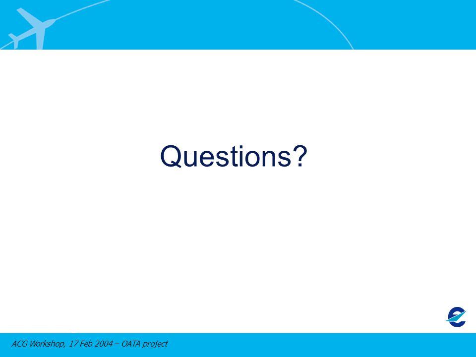ACG Workshop, 17 Feb 2004 – OATA project Questions