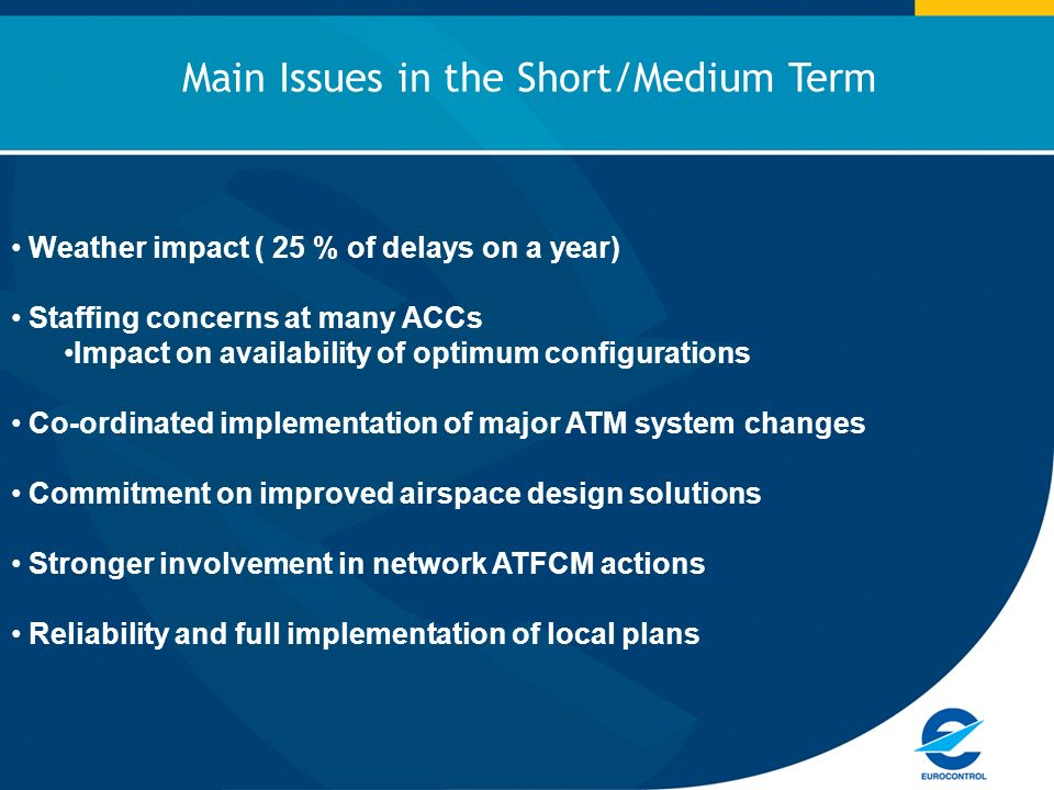 Weather impact ( 25 % of delays on a year) Staffing concerns at many ACCs Impact on availability of optimum configurations Co-ordinated implementation of major ATM system changes Commitment on improved airspace design solutions Stronger involvement in network ATFCM actions Reliability and full implementation of local plans Main Issues in the Short/Medium Term