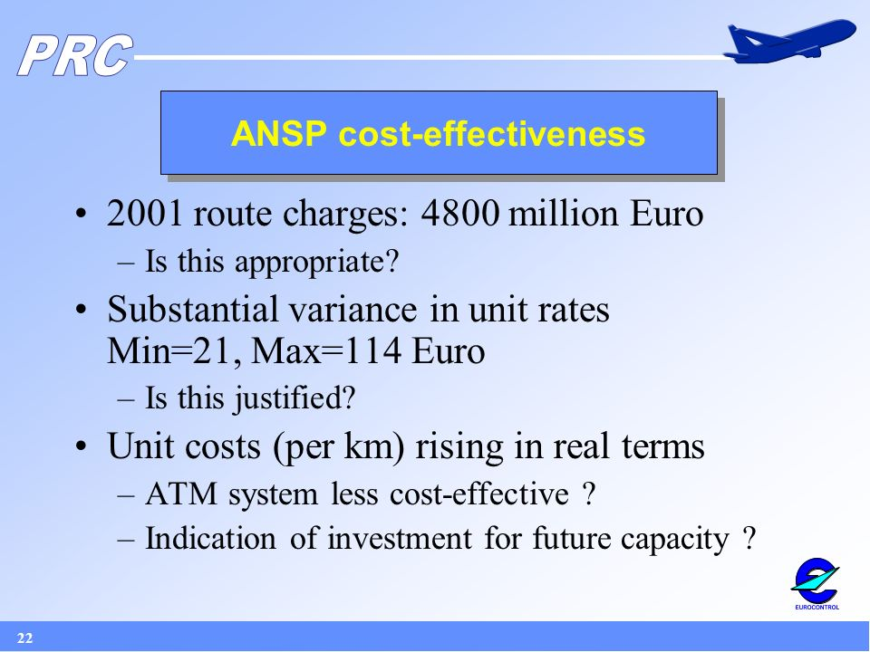 22 ANSP cost-effectiveness 2001 route charges: 4800 million Euro –Is this appropriate.