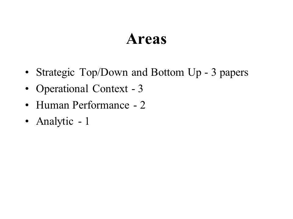 Areas Strategic Top/Down and Bottom Up - 3 papers Operational Context - 3 Human Performance - 2 Analytic - 1