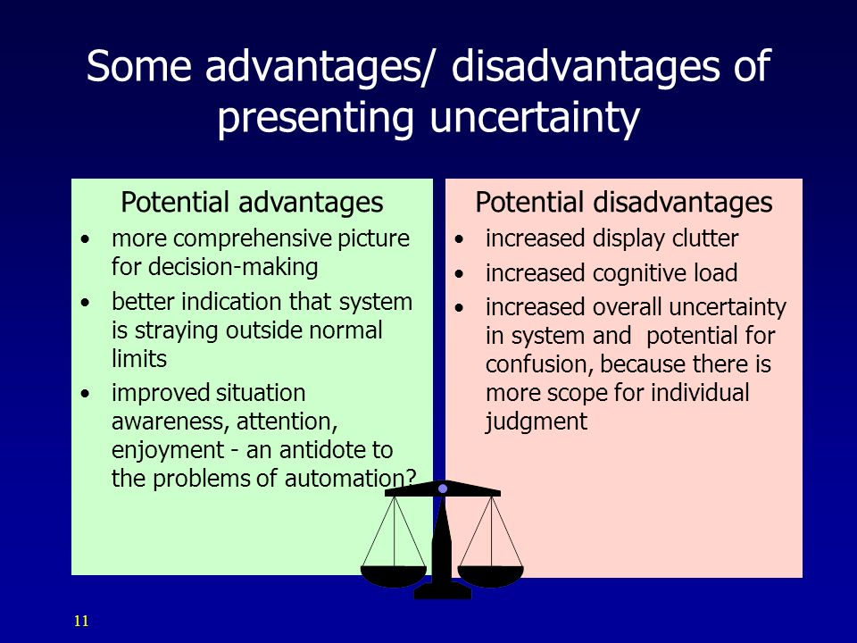 11 Potential advantages more comprehensive picture for decision-making better indication that system is straying outside normal limits improved situat