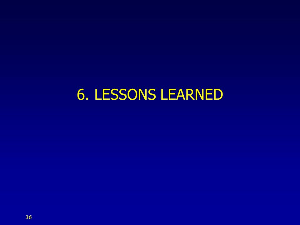 36 6. LESSONS LEARNED