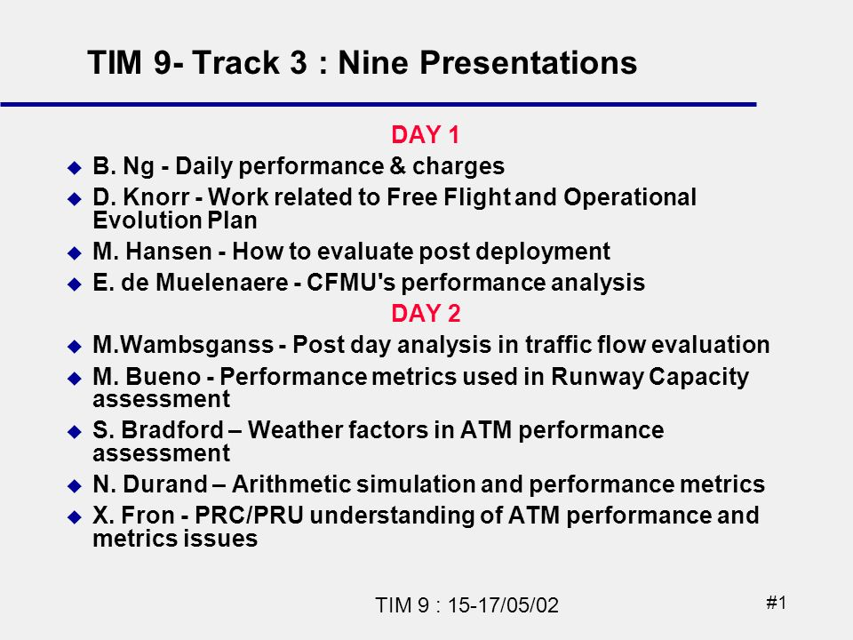 #1 TIM 9 : 15-17/05/02 DAY 1 B.Ng - Daily performance & charges D.