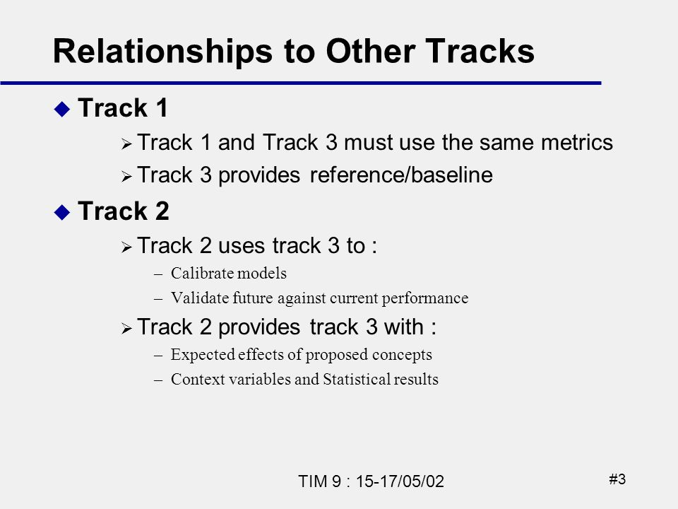 #3 TIM 9 : 15-17/05/02 Relationships to Other Tracks Track 1 Track 1 and Track 3 must use the same metrics Track 3 provides reference/baseline Track 2 Track 2 uses track 3 to : –Calibrate models –Validate future against current performance Track 2 provides track 3 with : –Expected effects of proposed concepts –Context variables and Statistical results