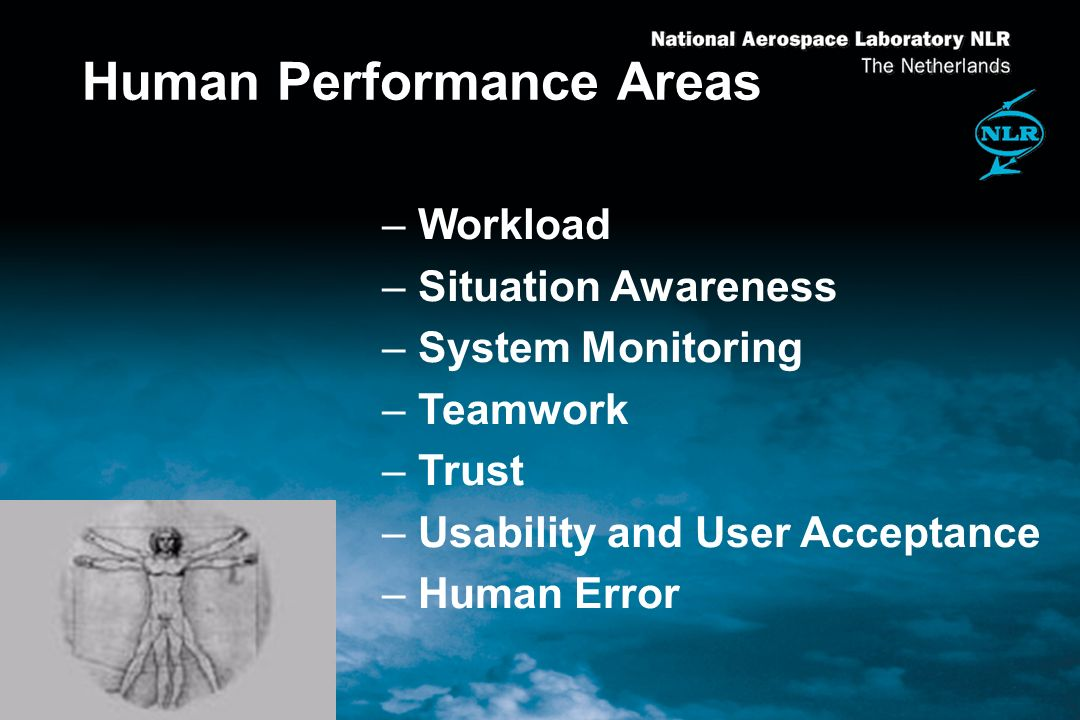 Human Performance Areas –Workload –Situation Awareness –System Monitoring –Teamwork –Trust –Usability and User Acceptance –Human Error