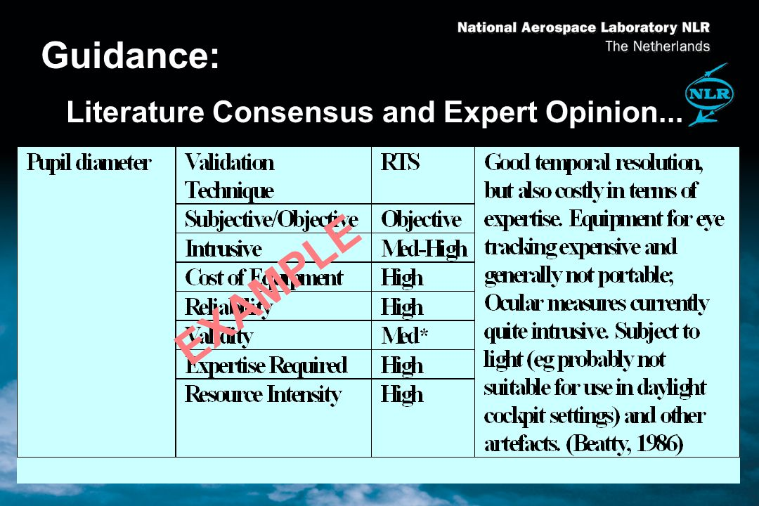 Guidance: Literature Consensus and Expert Opinion... EXAMPLE