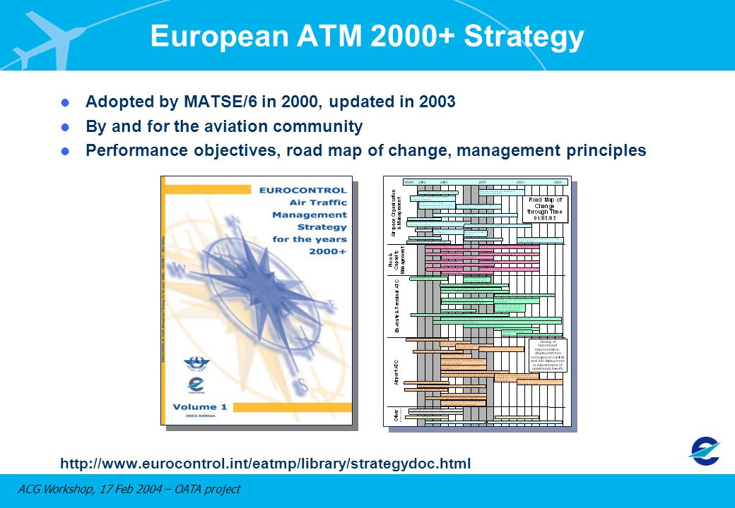 ACG Workshop, 17 Feb 2004 – OATA project l Adopted by MATSE/6 in 2000, updated in 2003 l By and for the aviation community l Performance objectives, road map of change, management principles http://www.eurocontrol.int/eatmp/library/strategydoc.html European ATM 2000+ Strategy