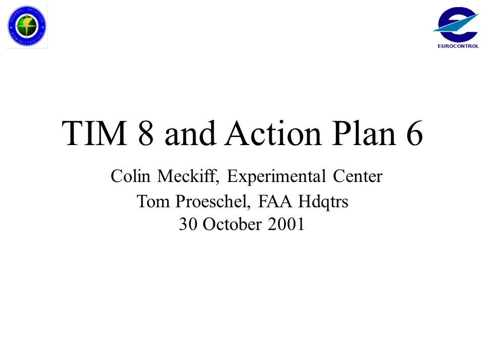 TIM 8 and Action Plan 6 Colin Meckiff, Experimental Center Tom Proeschel, FAA Hdqtrs 30 October 2001