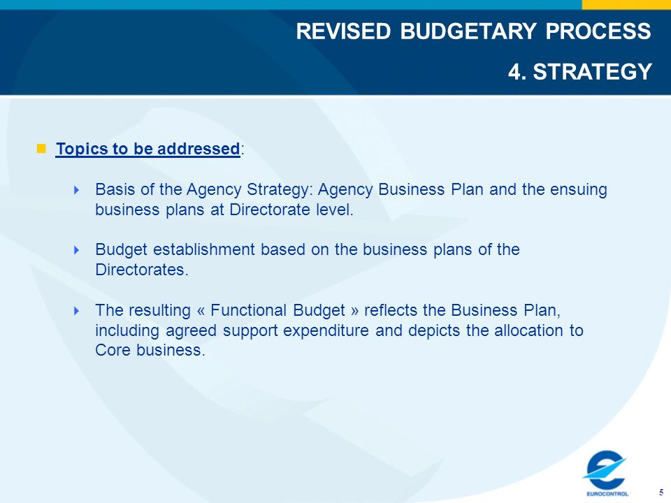 Topics to be addressed: Basis of the Agency Strategy: Agency Business Plan and the ensuing business plans at Directorate level. Budget establishment b